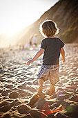 小,男孩,沙,海滩,日落