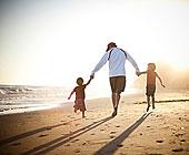 父亲,儿子,走,海滩,日落
