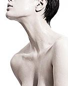 女人,液體,水滴,頸部