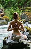 后面,风景,裸露上身,女人,沉思,石头,水