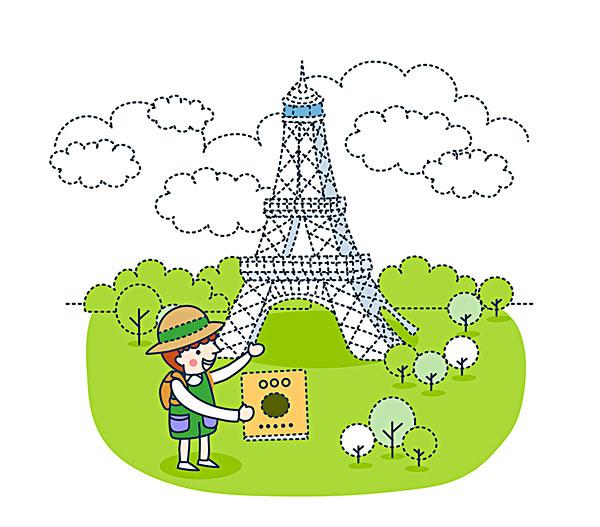 插画,游客,展示,埃菲尔铁塔
