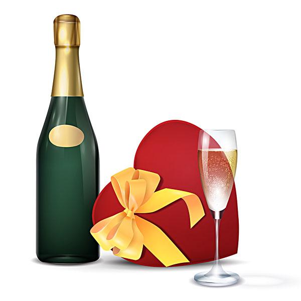 香槟酒瓶,香槟酒杯,心形,礼盒