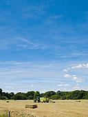 拖拉机,干草,农田,蓝天