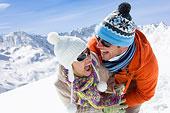 微笑,伴侣,玩,一起,雪中,山,背景