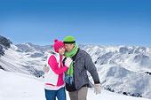 幸福伴侣,搂抱,雪,山坡,山峦,背景