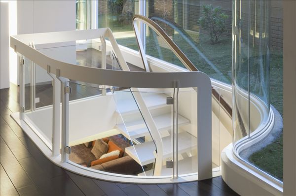 白色,楼梯,玻璃,栏杆