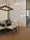 黑白/黑白,餐桌,餐厅,大理石,墙壁