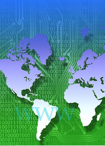 世界地图,电路板,二进制码,互联网