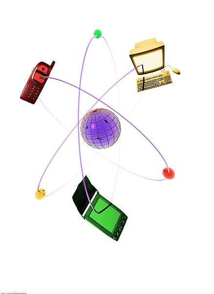 沟通,科技,抽象拼贴画,手机,电脑,电子记事簿,电讯