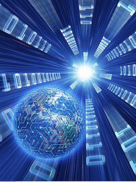 电路板,地球,二进制码