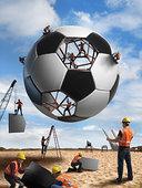 建筑工人,建筑,足球