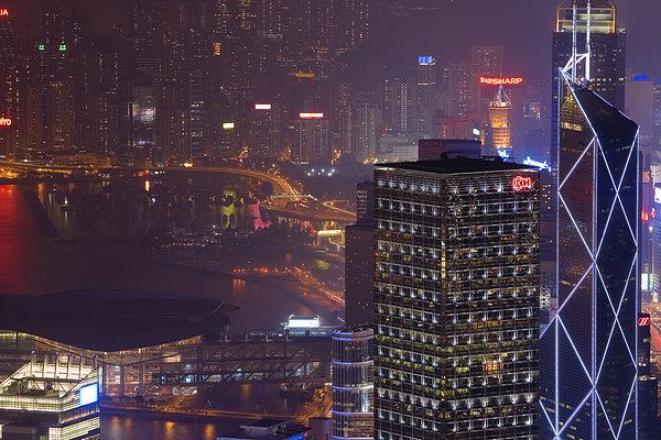 城市,夜晚,俯视图