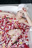 女青年,姿势,浴缸,俯视图
