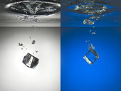 冰块,溅,水
