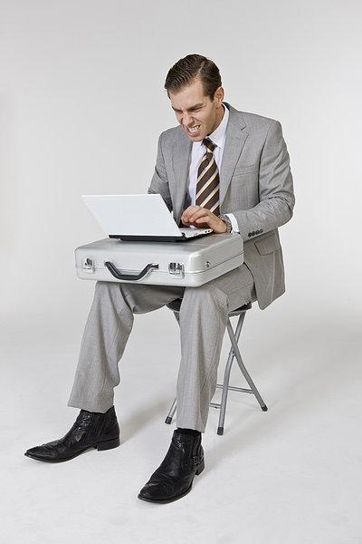 图片标题:商务人士,坐,椅子,工作,笔记本电脑