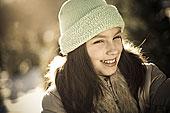 女孩,肖像,8-9岁,冬天