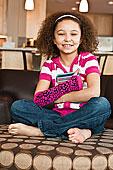 女孩,肖像,6-7岁,坐,沙发