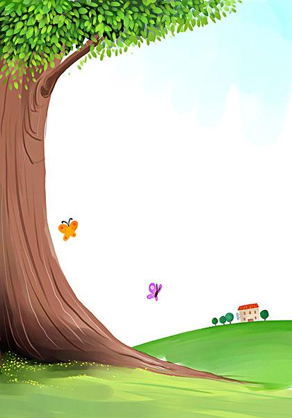 飞,蝴蝶,大树,插画