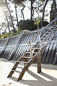 木楼梯,到,海滩,球场,吉伦特,阿基坦,法国