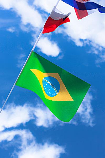 巴西人,巴西,法国人,法国,旗帜,蓝色,夏日天空