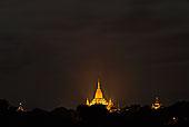 亮灯,阿南达寺,日出,蒲甘,缅甸