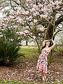 女人,站立,木蘭,樹,路易斯安那