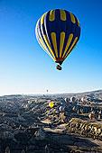火鸡,土耳其,中安那托利亚,卡帕多西亚,热气球,旅游,俯视,上方,山谷
