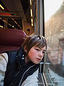男孩,向窗外看,地铁,电车,训练,列车,培训,法国