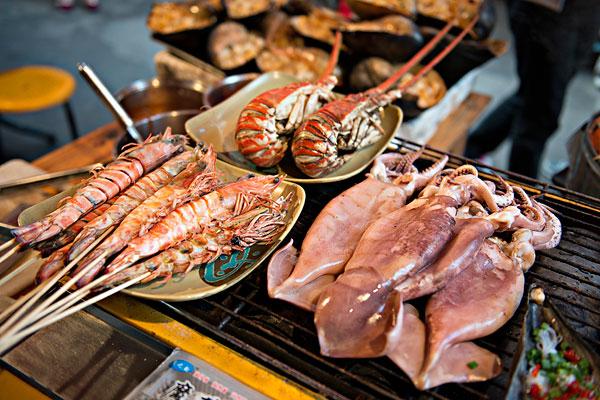 厦门鼓浪屿美食街海鲜食品