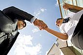 仰视,角度,成功,伙伴,握手,惊人,交易,会面