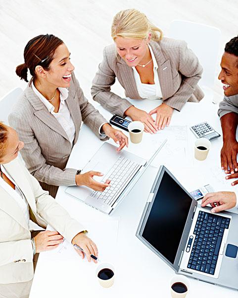 商务会议,白色背景-全景图片-读图时代