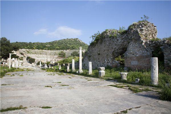 汽车文化之旅背景素材-路面与土耳其埃菲斯剧场