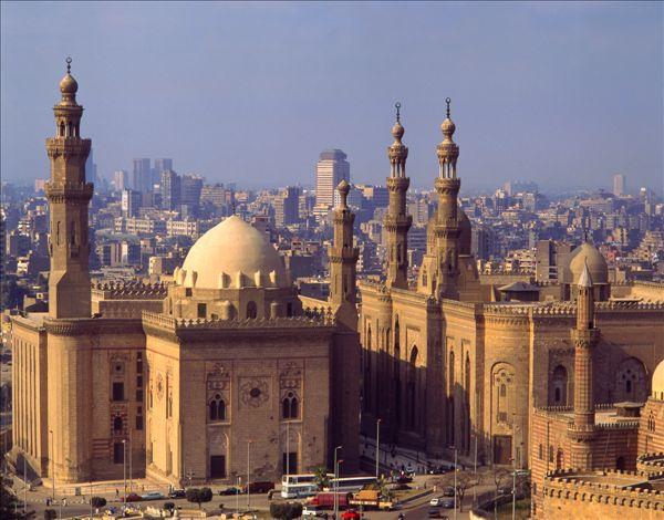 埃及,开罗,清真寺,城市,背景