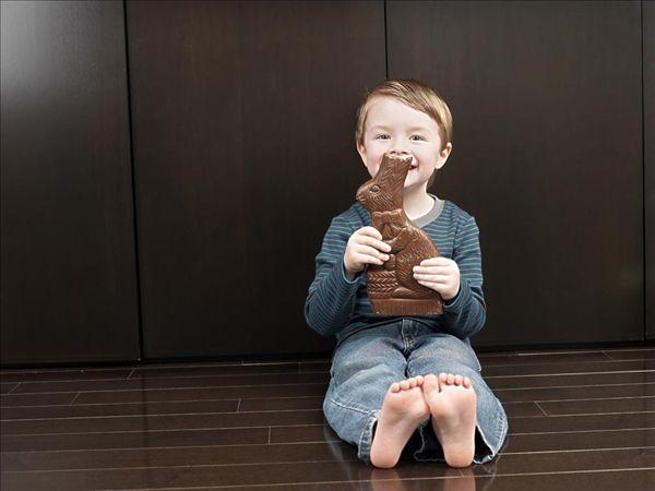 男孩吃巧克力兔子