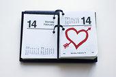 日历,展示,情人节