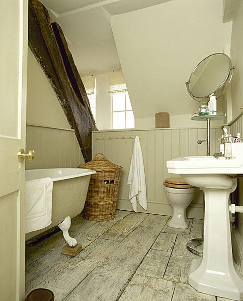 乡村,浴室,木头,刷白,地板,展示,木梁,倾斜,天花板