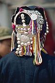 特写,银,珠子,哈尼族,帽子,云南,中国,亚洲