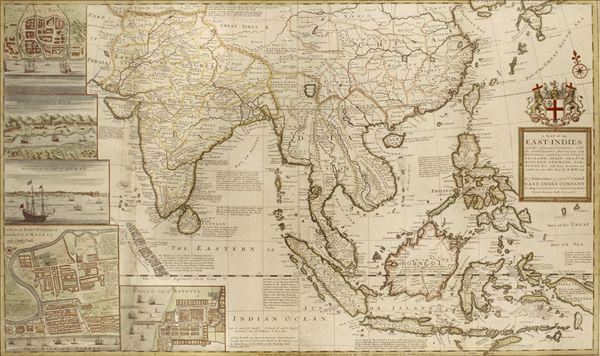老,地图,东方,西印度群岛,亚洲