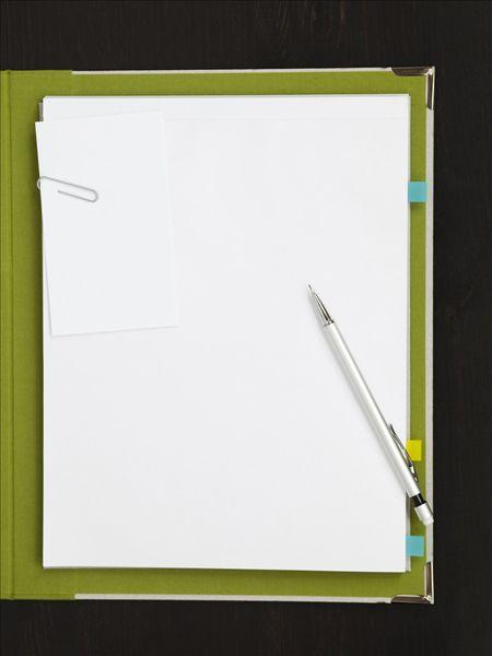 铅笔,纸夹,白纸,文件