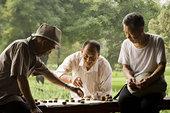 三个男人,玩,棋类游戏,户外,微笑