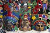 特写,传统,明亮,涂绘,面具,原色,工艺