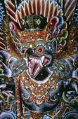 传统,雕刻,猴子,面具,嘴,牙齿,涂绘,鲜艳