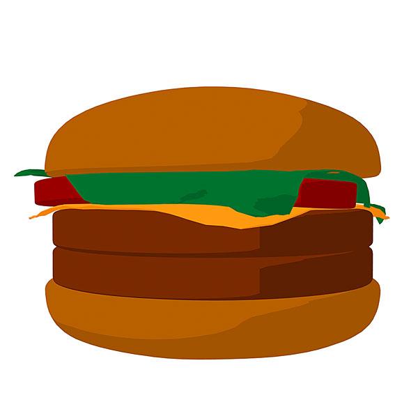 >卡通汉堡