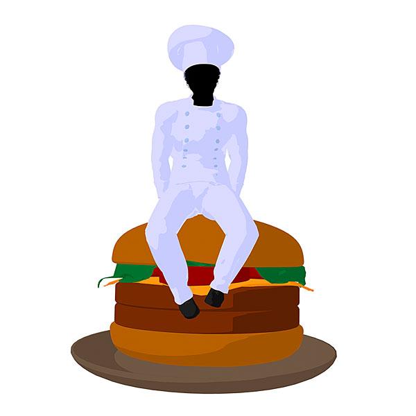 美国黑人,厨师,汉堡包,剪影,白色背景