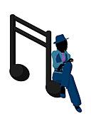 非洲,爵士乐,音乐人,音符,白色背景