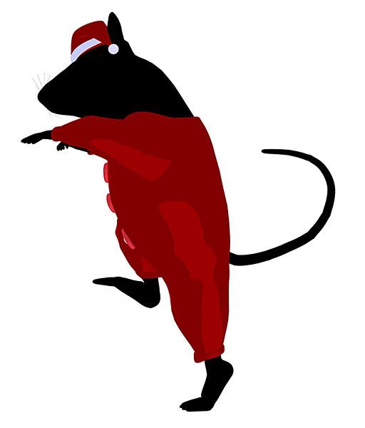 圣诞节,老鼠,穿,圣诞帽,剪影,插画,白色背景