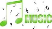 插画,音乐,图像,绿色,音符,完美,标识,象征