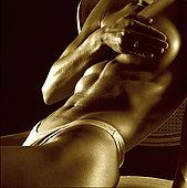 腰部,女青年,遮盖,乳房