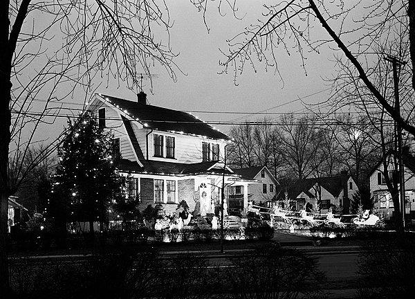 西,圣诞装饰,户外,房子