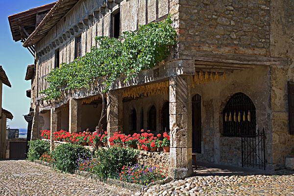 图片标题:半木结构房屋,露天咖啡馆,城市,罗纳河谷,法国